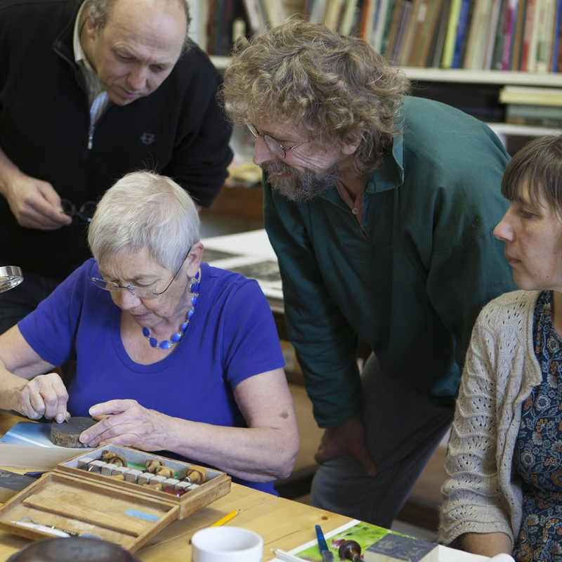Hilary teaching wood engraving photo by Leonie Bradley